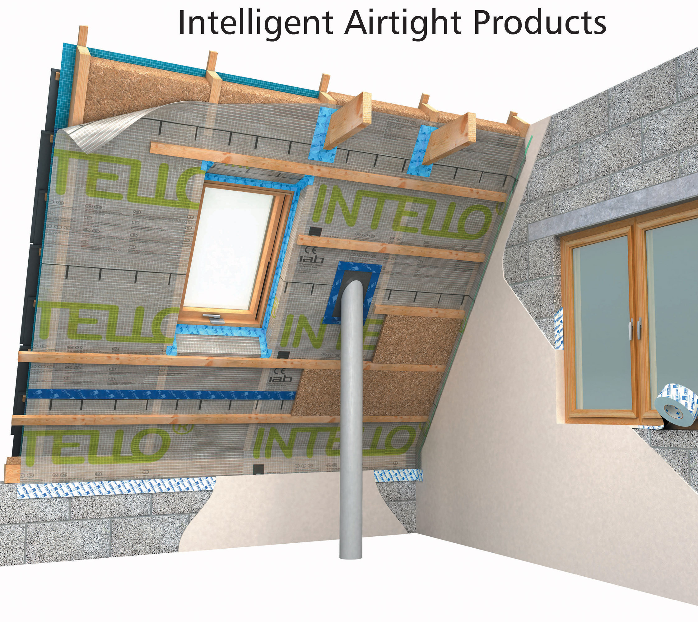 pro clima intelligent airtight and windtight products graphic